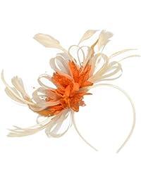 Tocado con lazos y plumas color crema y naranja, con diadema, ideal para bodas y carreras de caballos