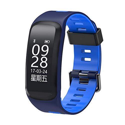 AMCER Fitness-Aktivität Tracker, Smart Pulsmesser Uhr, wasserdicht Sport Armband, Wireless Bluetooth Pedometer Armband für Android und iOS, Schrittzähler und Kalorienzähler Blue
