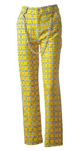 Pantalones de cuadros amarillos estilo años 70