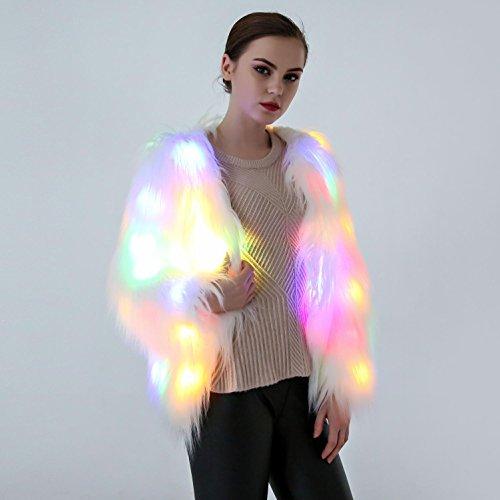 (DuuoZy Weibliche LED Leuchtet Künstliche Pelz Leuchtende Mantel Rollenspiel Diskothek Partei Tanz Anzeigen Kleidung, White, l)