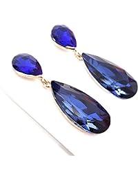 f99f3e677823 Pendientes Largos Mujer Bisutería Cristales de Colores Fiesta Boda Forma  Lágrima Chapado Oro