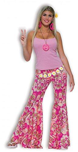70er Jahre Hippie Schlaghose pink mit Retro-Muster und Peace-Zeichen Gr. S Hose Kostüm
