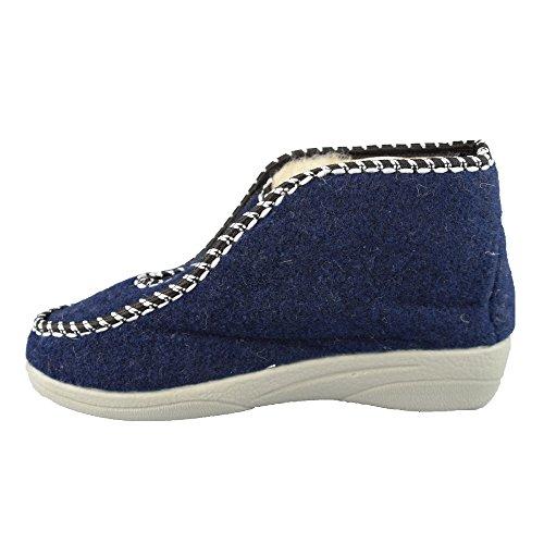 BTS–calde pantofole con fodera in lana di pecora da donna–colore: blu, GR. 36–42 Blau