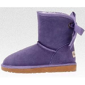 Frauen Winter Schnee Stiefel, Mittlere Röhre Leder Fliege Damenschuhe, Warm Halten