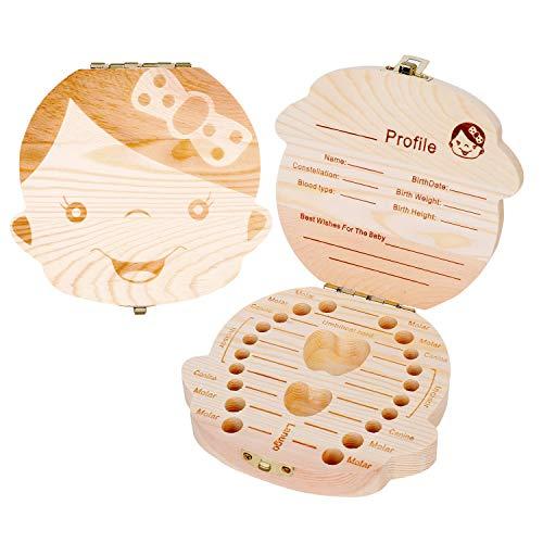 Milchzahndose Holz Zähne Box Aufbewahrungsbox für Milchzähne Kinder Zahndose Aufbewahrung Keepsake Box Baby Geburtstag Geschenk Zähne Kasten