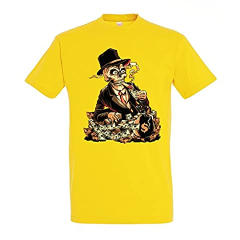 Gangsta Theme Skeleton Smoking Cigar From Money In Suit Design Mens Homme Yellow T-shirt