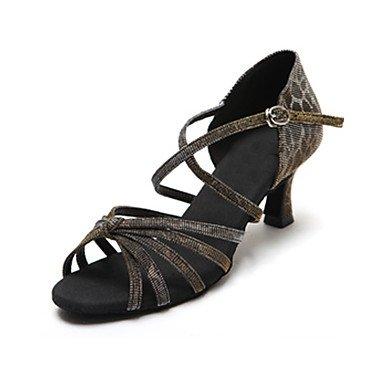 Silence @ satiné Chaussures de danse pour femme en satin Latin/Salsa talons Talon bas Practise Violet/gris Violet