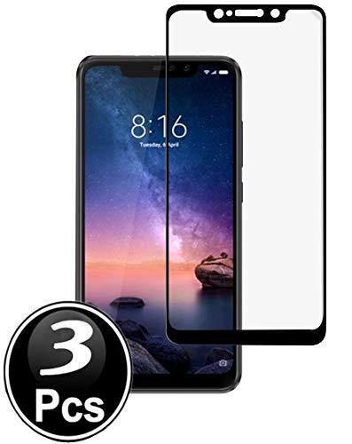 Ferilinso Panzerglas Schutzfolie für Xiaomi Redmi Note 6 Pro,[3 Stück][Full Coverage] [Full Adhesive Glue] Friendly gehärtetes Glas Schutzfolie mit lebenslanger Ersatzgarantie(Schwarz)
