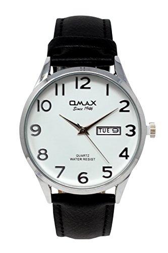 Omax Herren Silber mit weißem Zifferblatt Schwarzes Lederarmband Analoge Uhr Tag & Datum Haken Schnalle Verschluß Extra Batterie