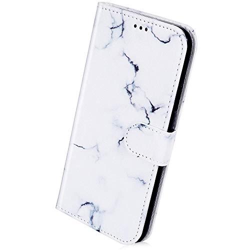 Herbests Kompatibel mit Samsung Galaxy J6 Plus 2018 Handyhülle Lederhülle Retro Bunt Ledertasche Brieftasche Schutzhülle Klapphülle Kartenfach Bookstyle Handytasche Etui mit Magnet,Weiß Marmor