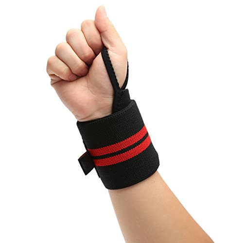 dophee-1pc-comfort-sport-gym-body-building-training-wrist-wrap-bandage-hand-support-straps-black-red