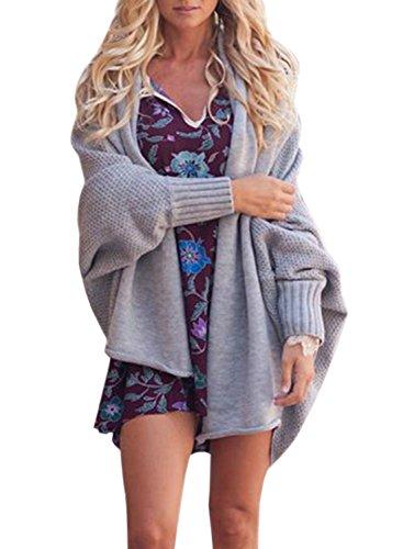 FUTURINO Damen Winter Herbst Cardigan Fledermausärmel Mantel Oversize Lange Warm Locker Dicke Strickjacke One Size Grau
