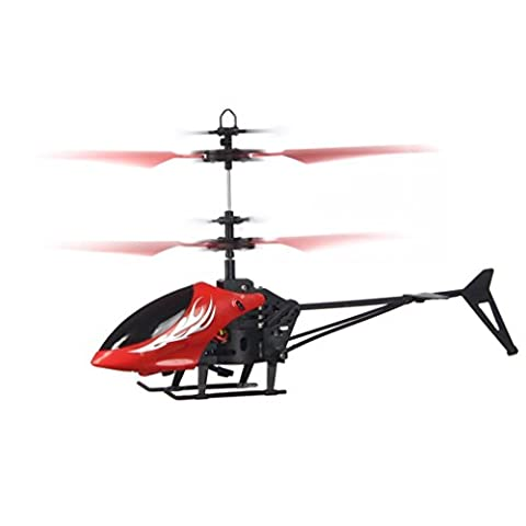 Mini Flying Helicopter Aircraft, KEERADS RC Infraed Induction Helicopter Aircraft Remote Control Flashing Light Toys For Kids and Adults (Red)