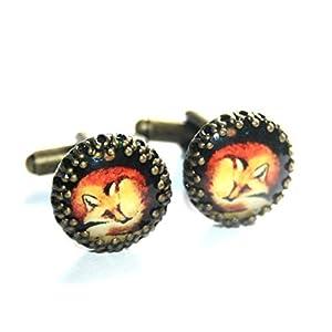 Fuchs ☀ Kleine bronzefarbene Handmade Fox Manschettenknöpfe, 15mm, ein besonderes handgefertigtes Geschenk für den…