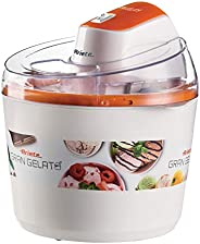 Ariete 642 Large Ice Cream Maker 1.5 L Transparent Lid Double Wall Insulation On/Off Button White Orange