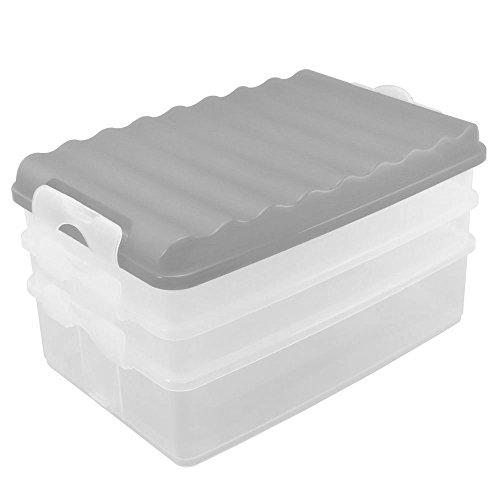 COM-FOUR® 4-teiliges Aufschnittdosen-Set, eckig, mit Deckel, Behälter transparent, Deckel weiß, ca. 25 x 15,5 x 14 cm (1 Stück/weiß)