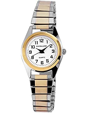 Excellanc Damen Zugband Uhr Armbanduhr Metallzugband bicolor