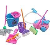 Descrizione Questo pacchetto contiene 9 utensili per la pulizia della casa, tra cui mop, bucket, scopa, cestino, collettore di polvere, spazzola di spazzola, spazzola, spazzola spugna, perfetto per i bambini che fingono di giocare. Questo è u...
