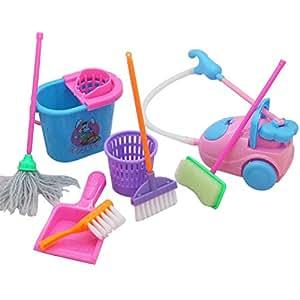 toymytoy 9pcs jouet d 39 outil de nettoyage pour maison de barbie jouet imitation mini kit de. Black Bedroom Furniture Sets. Home Design Ideas