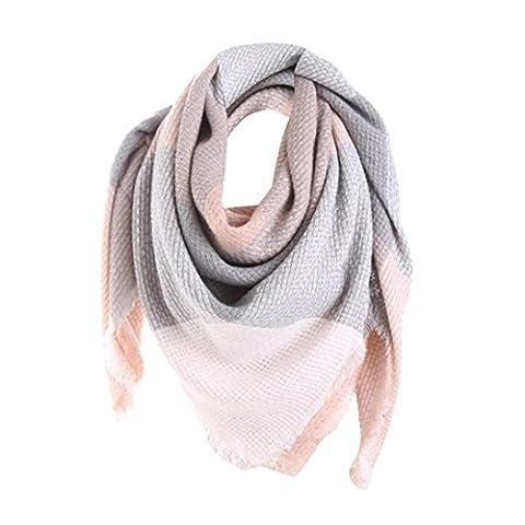 Damen Schal Btruely Schlagfarbe Stich Schal Solide Lange Kaschmir Wolle Shawl Plaid Hals Scarf (Eins Größe, Rosa)