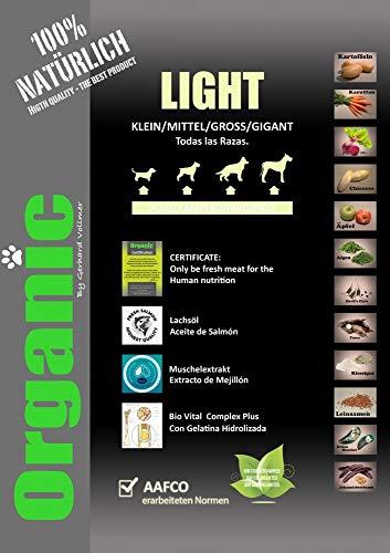 Organic Light 16Kgs con Verduras Bajo en Calorías pienso Natural para Perros