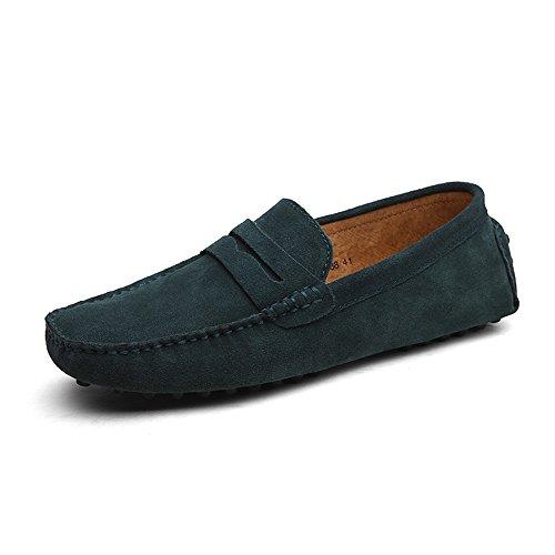 DUORO Herren Klassische Weiche Mokassin Echtes Leder Schuhe Loafers Wohnungen Fahren Halbschuhe (45,Grün)