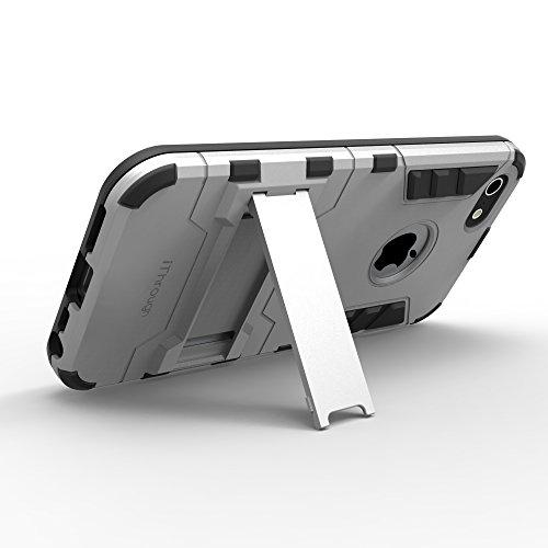 iPhone 5S Hülle, iThrough™ iPhone 5 Schutzhülle Case mit Ständer-Funktion, Schutzhülle Kunststoff-TPU für iPhone 5S, iPhone 5 Silber
