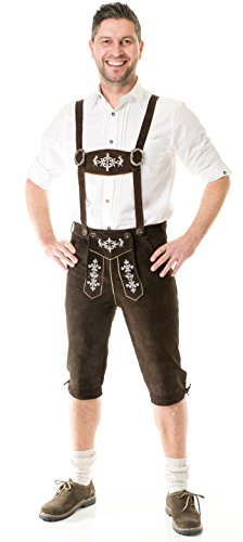 Herren Trachten Lederhose Kniebund Almhirsch braun oder schwarz Marke Achim Klein (60, braun)