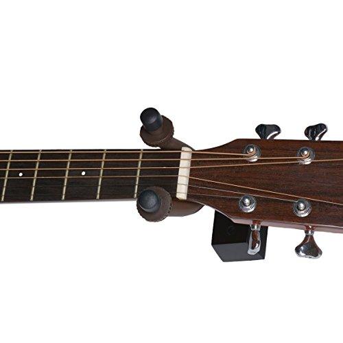 YoungRich Gitarren Aufhänger an der Wand Befestigbare Schwarze Hölzerne Horizontal Niedrige Praktischer Schützender Fester Haken für alle Gitarren Bass Banjo Ukulele Mandoline Proben Raum und Studio -
