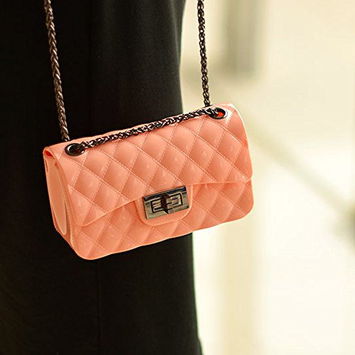 BYD Damen Mini PU Leder Gesteppt Handtasche Schultertaschen Ketten Tasche mit Steppmuster und Kettenhenkel Maedchen Rosa