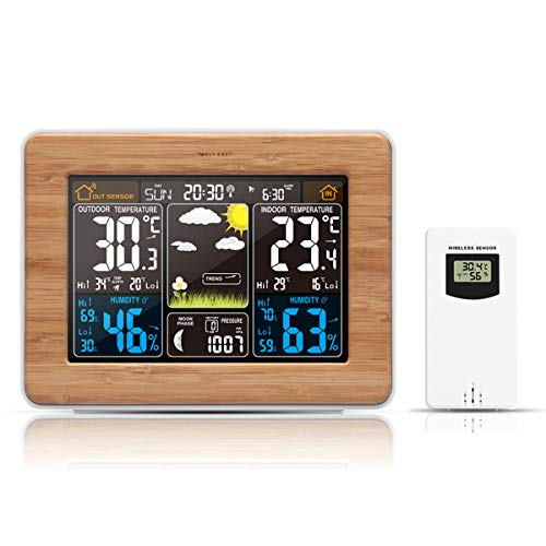 Haokaini Despertador Digital Inalámbrico con Estación Meteorológica Despertador Led...