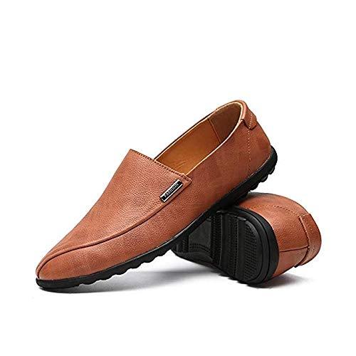 Leanax Männer Freizeitschuhe Leder Metall Dekoration Modetrend Bequemlichkeit Reisen Weiche Schuh Match Plain Glatte Leichte Slip On Peas Schuhe for Geschäftsarbeit Lederschuhe