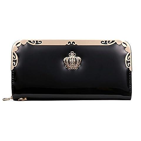 Reißverschluss - Handtasche, Geldbörse, Herbst - Mode, Neue Europäische Und Amerikanische Damen, Lange, Multifunktions -,Schwarz