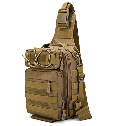 DXQY Rucksack Outdoor-Tasche Angeltasche Multifunktionale One-Shoulder-Tasche Slant Bag Riding Herren-Brusttasche Camouflage SportrucksackWolf Brown (Angeln Wolf-kamera)