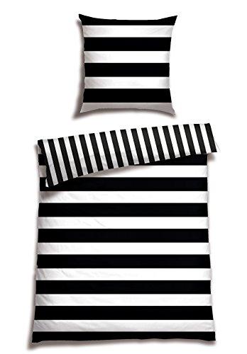 Schiesser Renforcé Bettwäsche Black&White Stripes / 155 x 220 cm + 80x80 cm / 100{a015d6338c9d7dba4a420e07f87d04db1b3dbb12fdfea6e172dc55e5a60bd12f} Baumwolle/in versch. Größen erhältlich