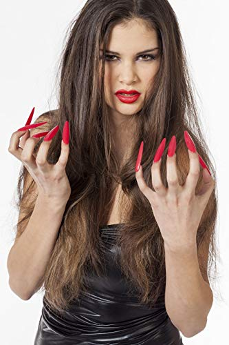 Jannes 34050 Lange Fingernägel zum Ankleben Halloween Hexe Nägel Halloween Grusel Horror ScaryEinheitsgröße Rot