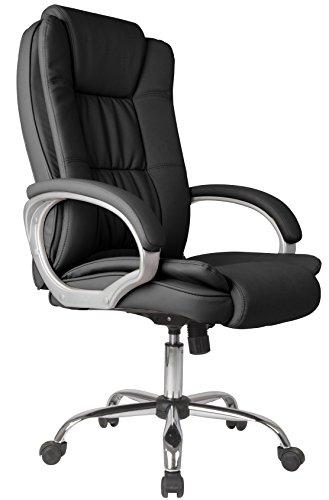 VS Venta-stock Confort 2 - Sillón de oficina elevable y reclinable, piel sintética, color negro