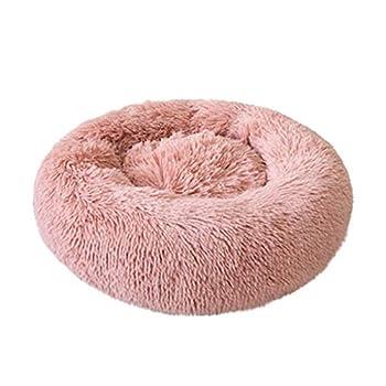ABenxxou Chien lit, Chaud Tapis de Chien Rond Coussin Grande Taille Panier Lavable pour Chat Animaux de Deluxe Moelleux Lit pour Animal (S (diamètre de 40cm, Hauteur de 18cm), Rose)