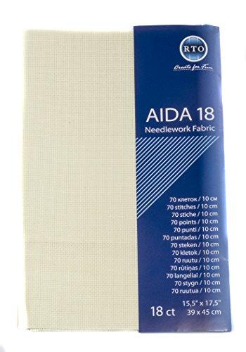 RTO Aida 18-Count-Gewebe, 100% Baumwolle, Elfenbeinfarben, 49x 45cm
