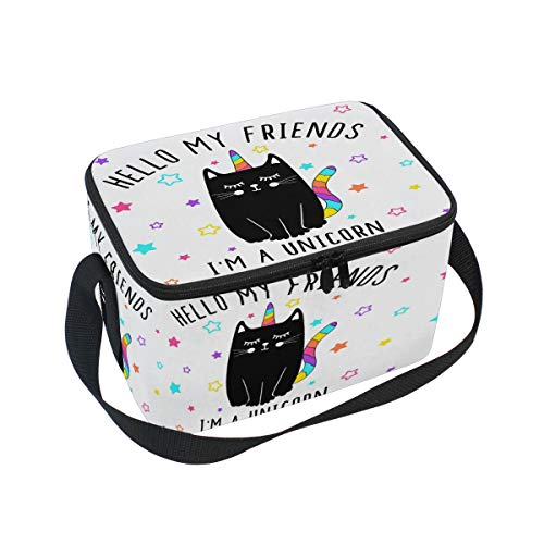 Hello My Friends Stars - Bolsa de almuerzo con aislante de arcoíris para gato, diseño de unicornio, reutilizable, duradera, portátil, térmica, ideal para el almuerzo, la escuela, la oficina, al aire libre, picnic, barbacoa