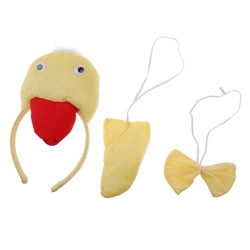 Fenteer Weihnachten Mädchen Jungen Stirnband Bowtie Schwanz Kit Tier Kostüm Set Party Cosplay Kostüm - Gelb Ente, 3pcs/Set