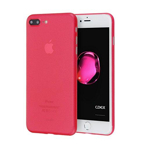 Doupi ultraslim custodia per iphone 8 plus / 7 plus (5,5 pollici) pollici, satinato fine piuma facile mat semi trasparente cover, rosso