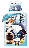 Halantex Pets 2 Set Letto Singolo con 6 Personaggi dal Film Animazione Originale Vita da Animali Copripiumino 140x200cm Cotone Ufficiale Max Gidget Snowball Chloe Mel Buddy