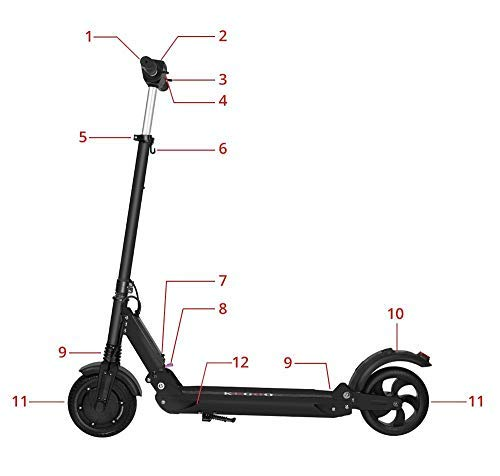 GoZheec E Scooter KUGOO S1 350W, 30km, 30 Km/h, LCD E-Roller Jugendliche und Erwachsene konkurrieren mit M365 (Schwarz) - 5