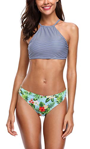 Anwell Damen Bikinioberteil Split Blumen Print Zweiteilige Neckholder Bikini-Sets Lila M - Lila Neckholder-bikini