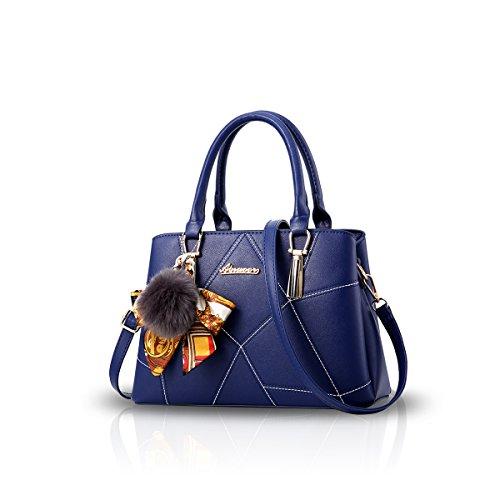 NICOLE&DORIS Frauen-Art- und Weisehandtasche Crossbody Schulter-Geldbeutel-Tote-Schultaschen-Einkaufstasche Faux-Leder Navy blau -