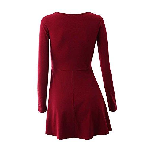 ... Oderola Damen Basic Skaterkleid V Neck Kleid Stricken Langarm Falten  Kleid Elegant Rot ...