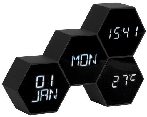 Karlsson - Uhr, Wecker - Six in The Mix - Kunststoff - Holzoptik - H12 x B17,5 x T4,5 cm - Design: Gijs Van de Beucken