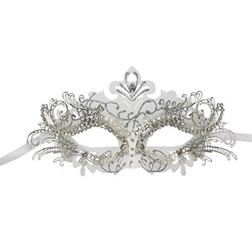 KEFAN Masquerade Maske Halloween Party Mardi Gars Maske Krone Laser Schnitt Filigran Metall Maske (White) (Einzigartige Mutter Tochter Halloween Kostüme)