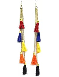 Chooz Designer Studio Multicolour Fabric Dangler Earrings with Tassels for Women